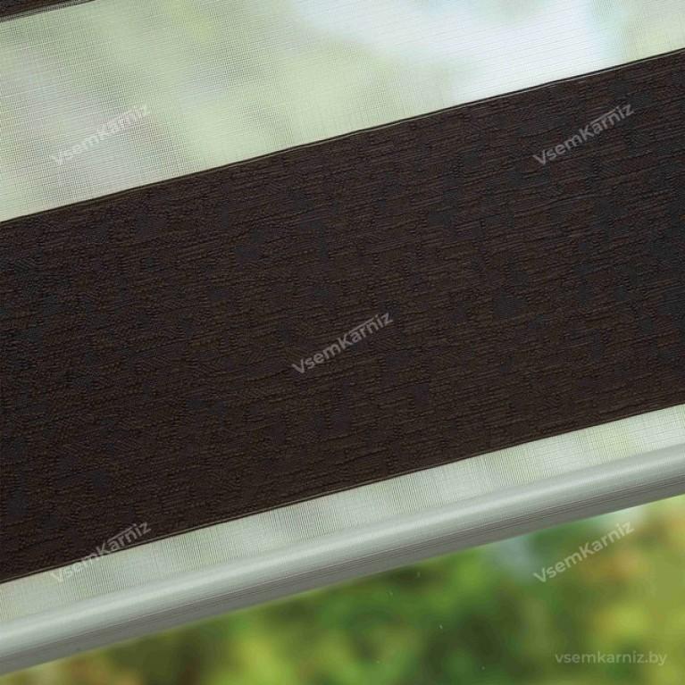 Рулонная штора LmDecor День-Ночь «Сити 05» темный шоколад UNI 2 в алюминиевом коробе с направляющими