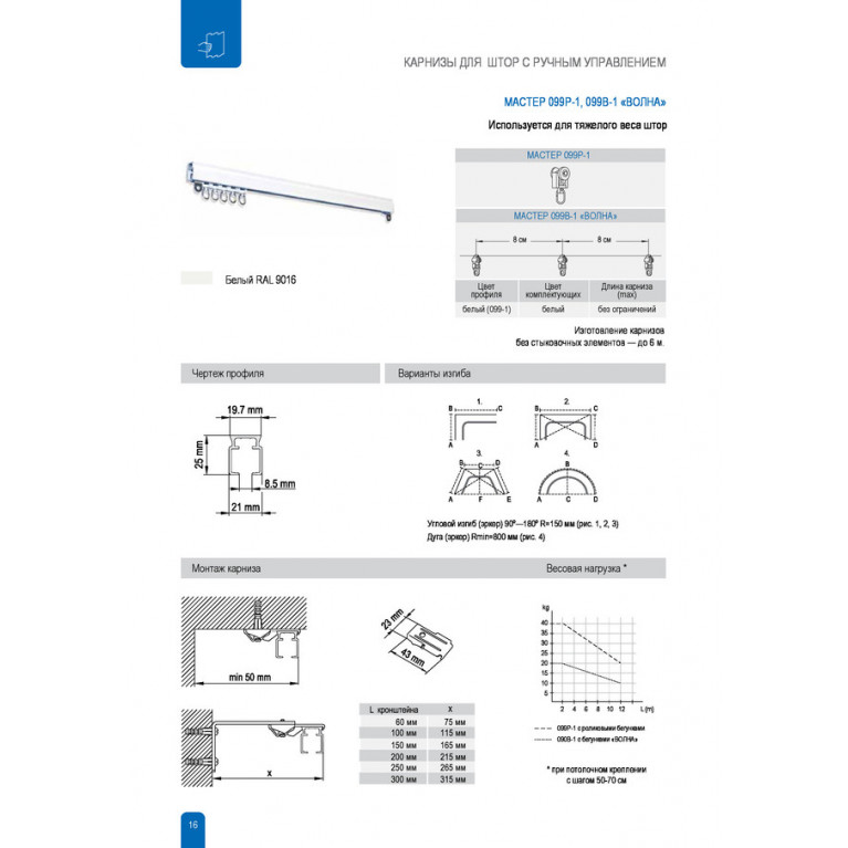 Профиль Алюминиевый D30 «PREMIUM» для тяжёлого веса штор