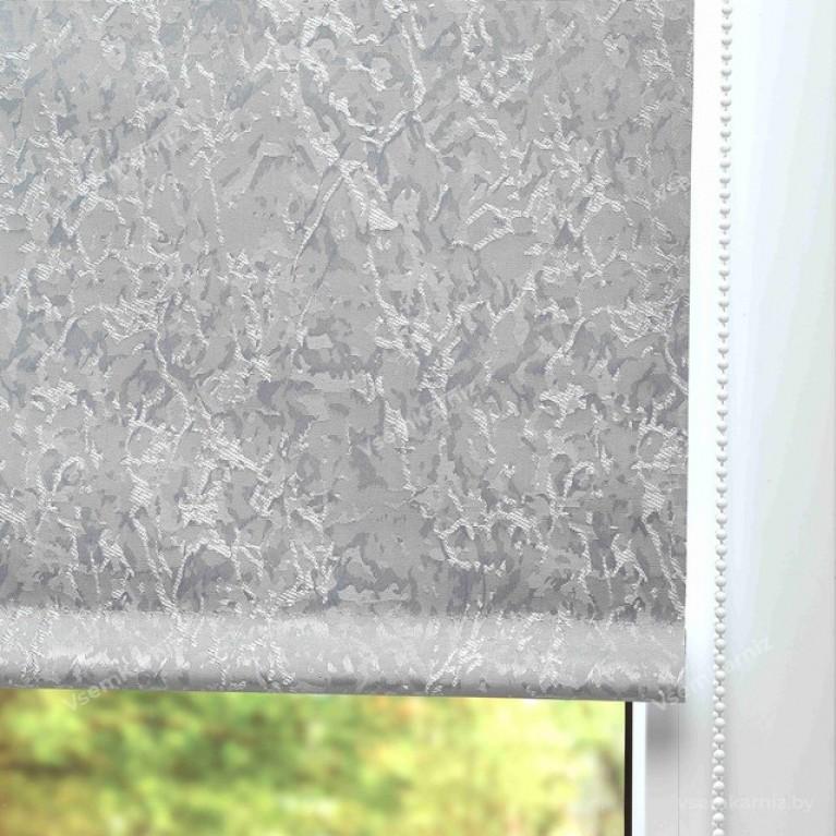 Рулонная штора LmDecor БЛЭКАУТ «Саванна 05» серая UNI 2 в алюминиевом коробе с направляющими