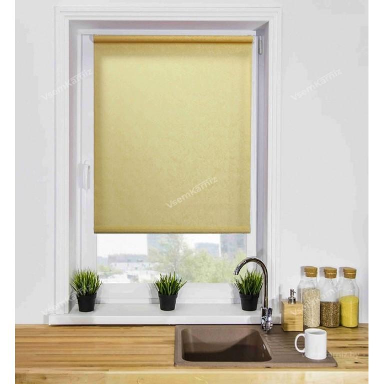 Рулонная штора «Жаккард 03» Желтая с комплектом направляющих