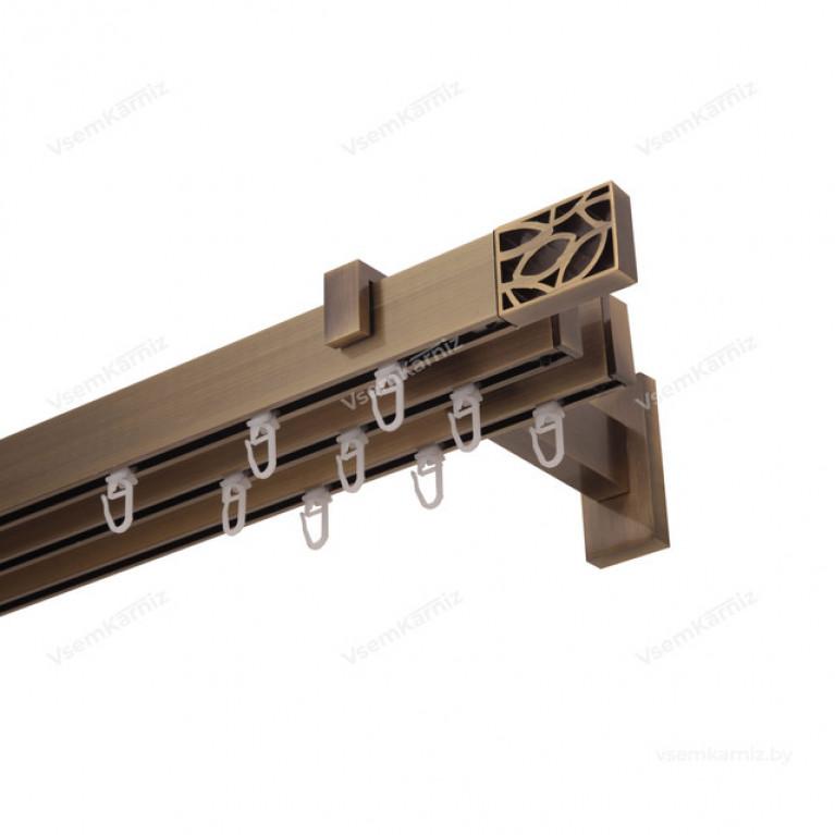 Карниз Флэт профиль «Лайн» Грид 31*13мм антик (трёхрядный)
