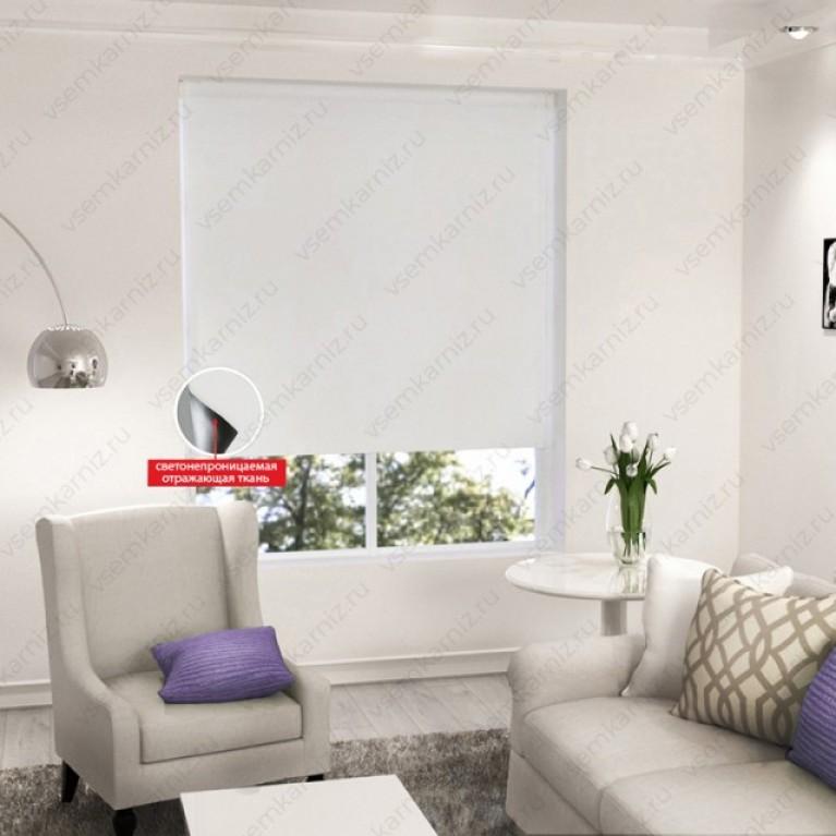 Рулонная штора  БЛЭКАУТ  «Симпл 01»  Белый  с комплектом направляющих