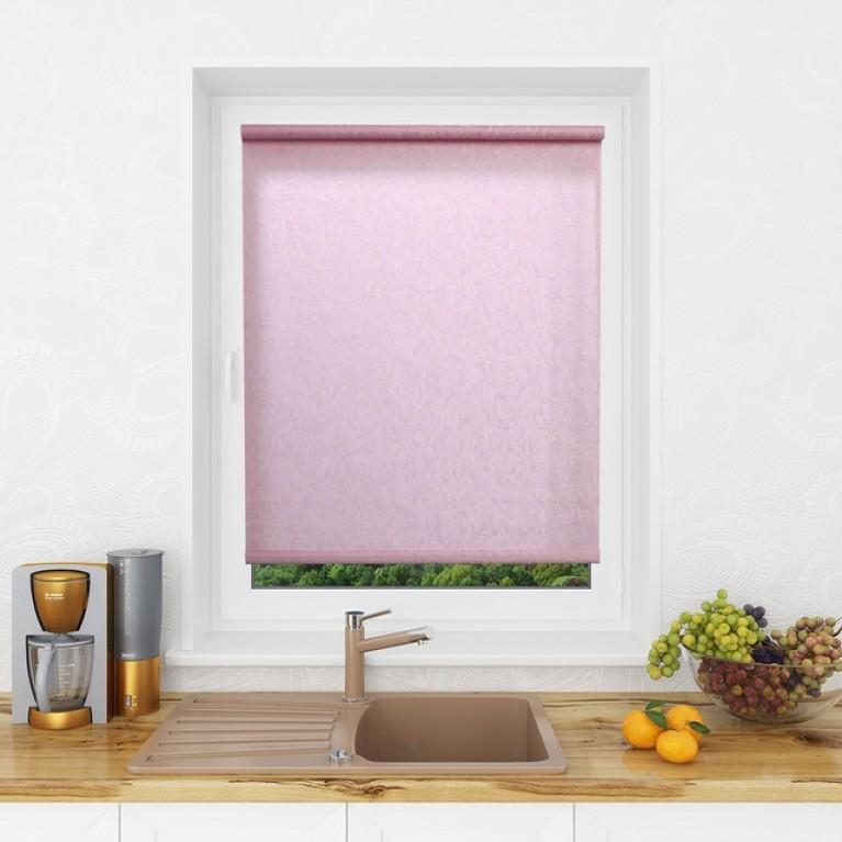 Рулонная штора LmDecor «Жаккард 08» Розовая с комплектом алюминиевых направляющих