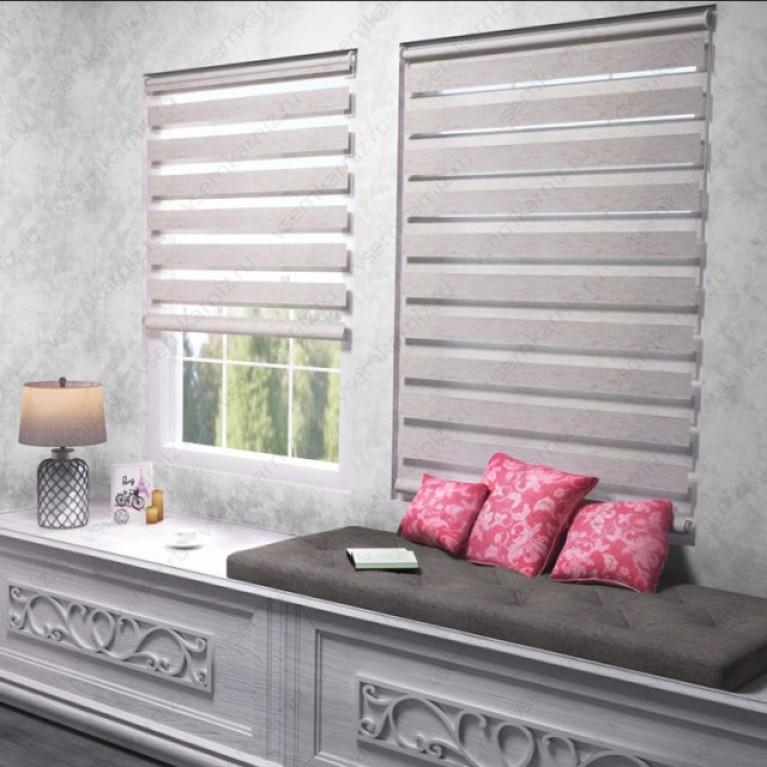 Рулонная штора День-Ночь  «Грация 09»  Белый лён с комплектом алюминиевых направляющих
