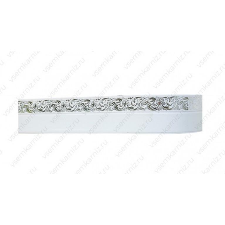 Карниз с багетом «Ажур А4» Белое серебро 7см