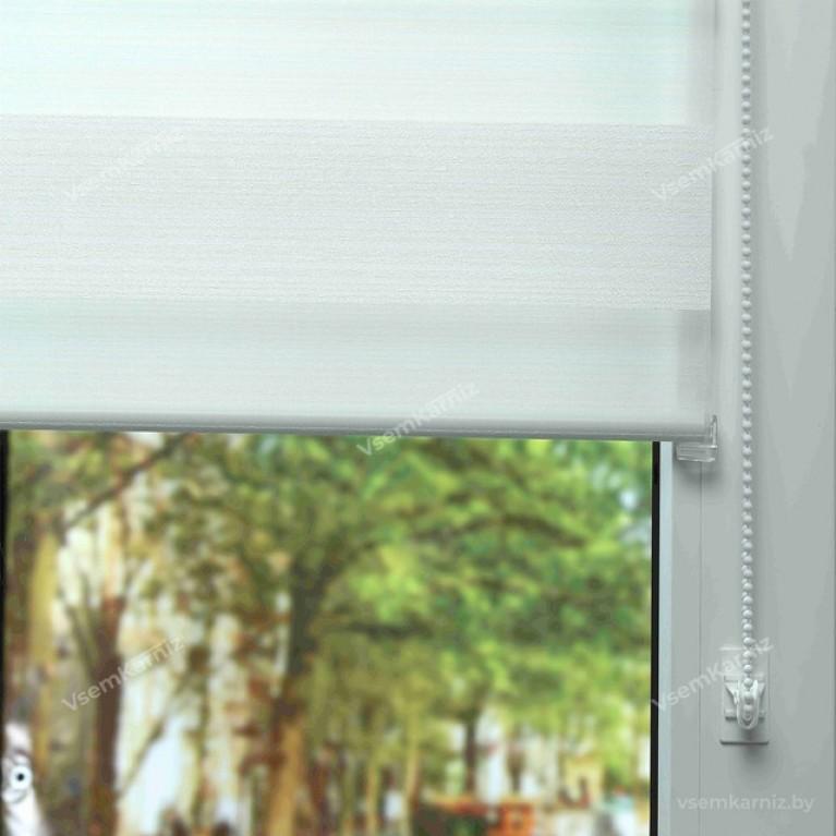 Рулонная штора LmDecor День-Ночь  «Марсель 01» Белая с комплектом алюминиевых направляющих