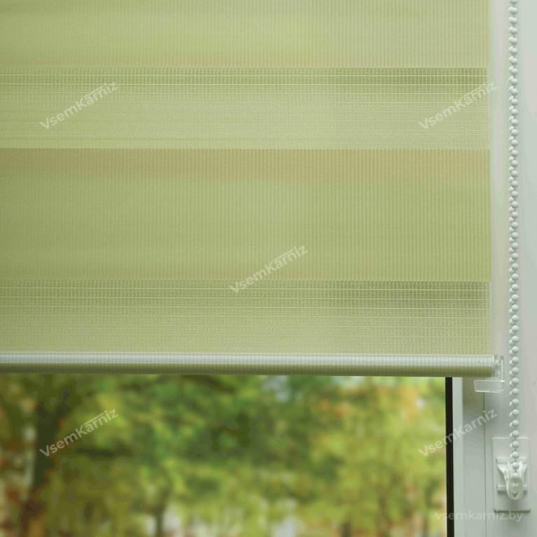 Рулонная штора LmDecor День-Ночь «Грация 08» оливковая