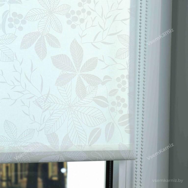 Рулонная штора LmDecor «Флауэр 01» белая Коричневая в коробе с направляющими