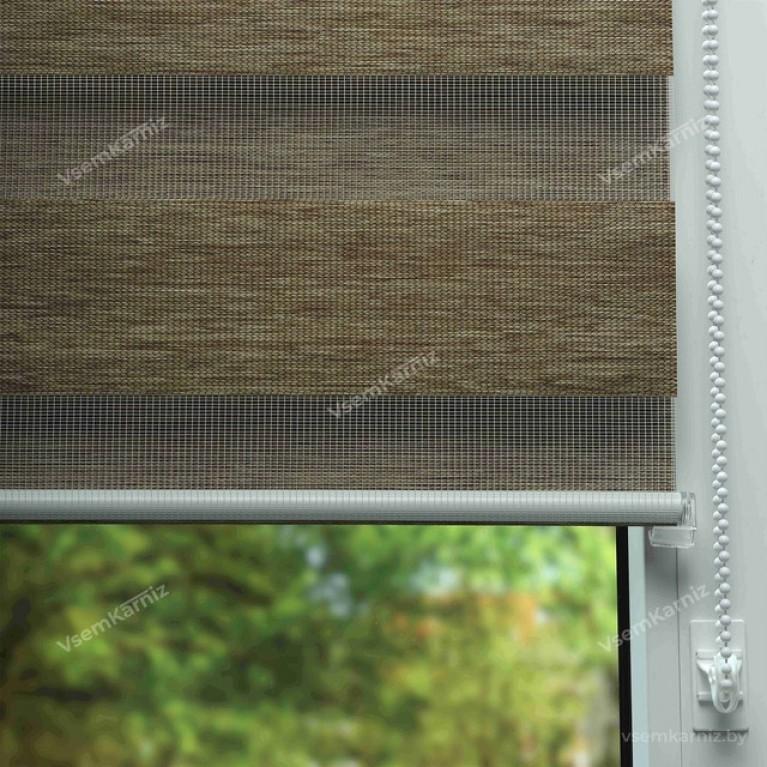 Рулонная штора LmDecor День-Ночь «Винтаж 04» Янтарная с комплектом направляющих