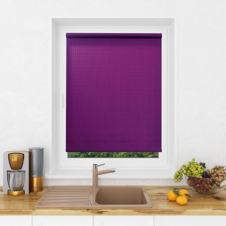 Рулонная штора LmDecor «Лайт 06» Фиолетовая в коробе с направляющими