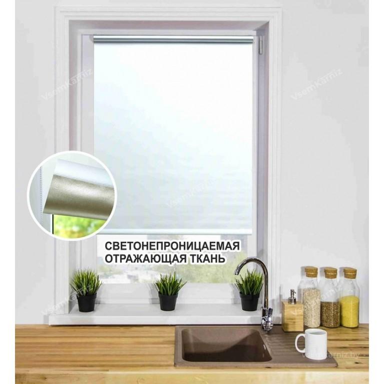 Рулонная штора БЛЭКАУТ «Симпл 01» Белый с комплектом алюминиевых направляющих
