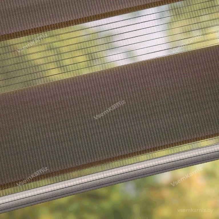 Рулонная штора День-Ночь «Грация 23» Коричневая с комплектом алюминиевых направляющих