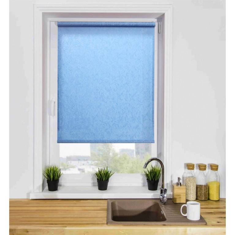 Рулонная штора «Жаккард 06» Голубая с комплектом алюминиевых направляющих