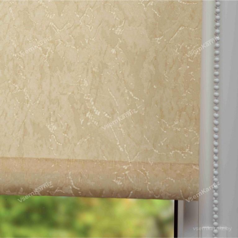 Рулонная штора LmDecor «Жаккард 04» Бежевая с комплектом алюминиевых направляющих