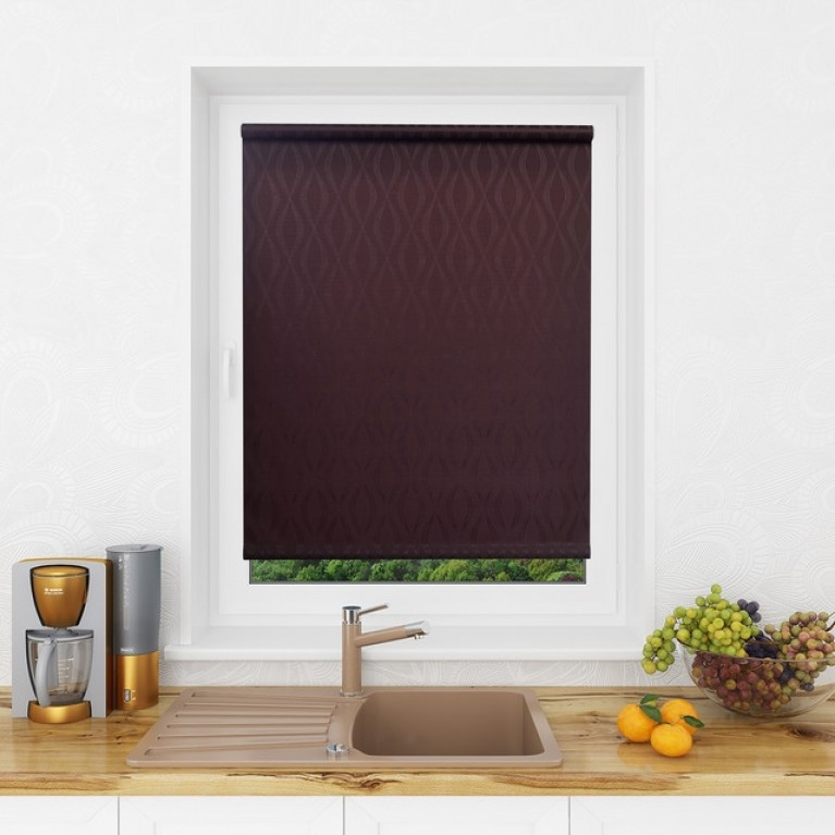 Рулонная штора LmDecor «Инфинити 02» коричневая в коробе с направляющими