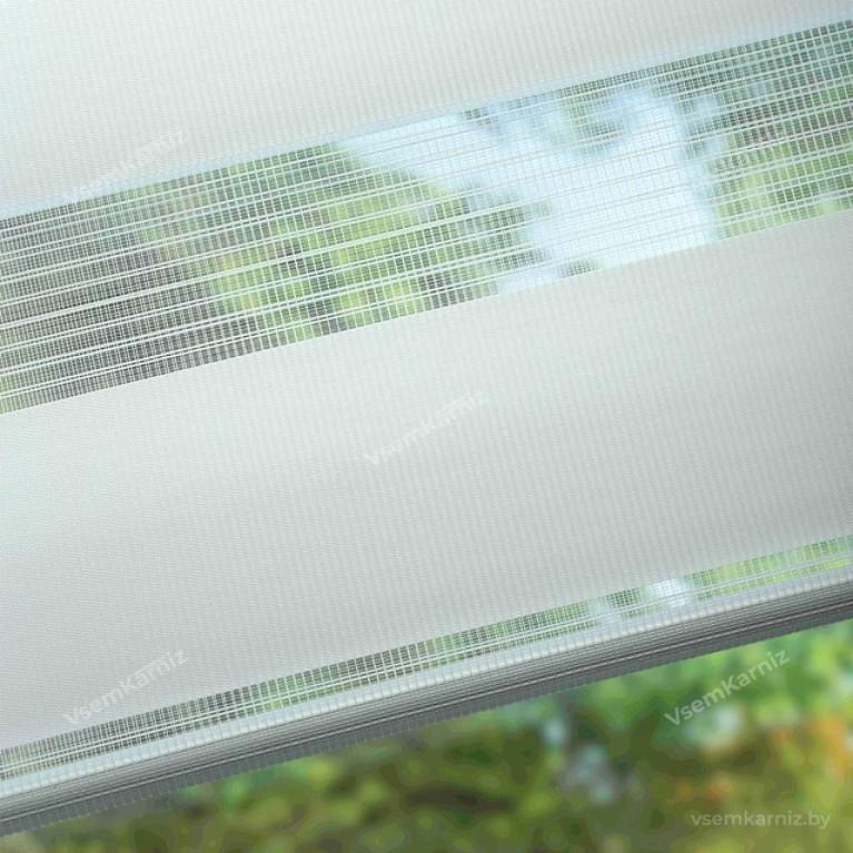 Рулонная штора LmDecor День-Ночь «Грация 01» Белая UNI 2 в алюминиевом коробе с направляющими