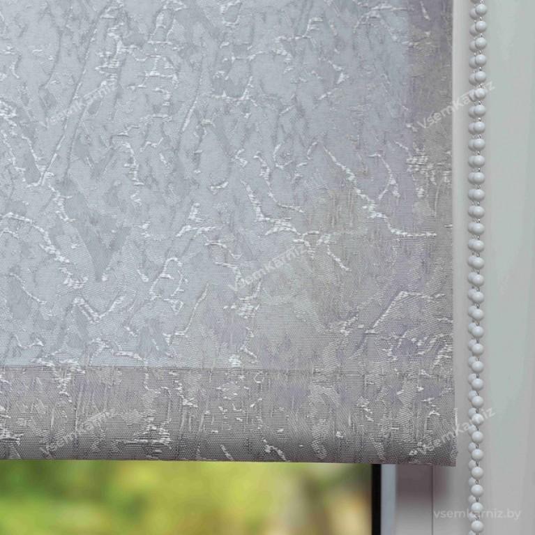 Рулонная штора LmDecor «Жаккард 05» Серая в коробе с направляющими