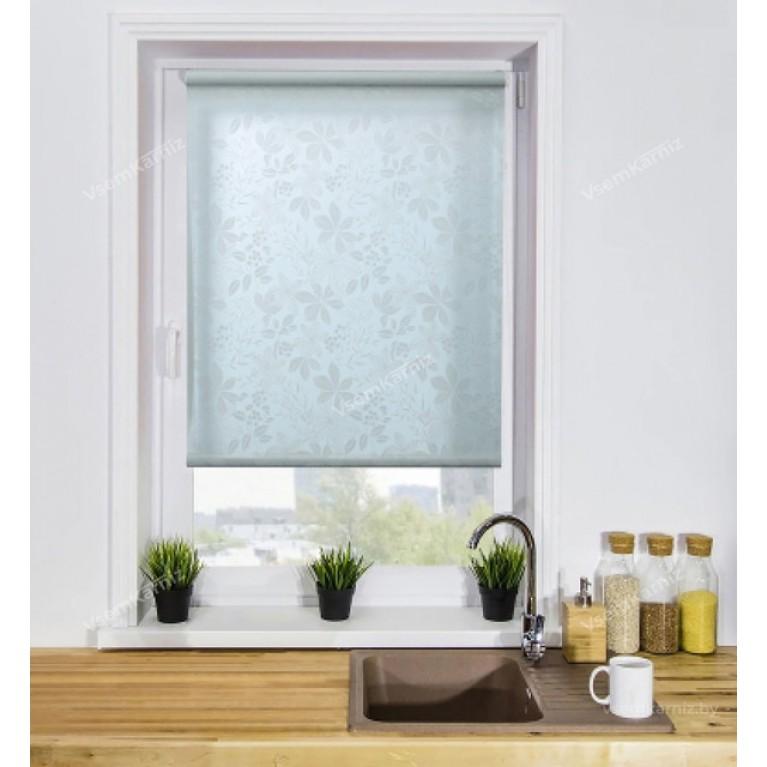 Рулонная штора «Флауэр 01» комплектом алюминиевых направляющих