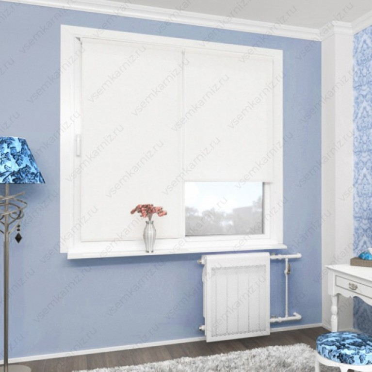 Рулонная штора «Жаккард 01» Белая в коробе с направляющими
