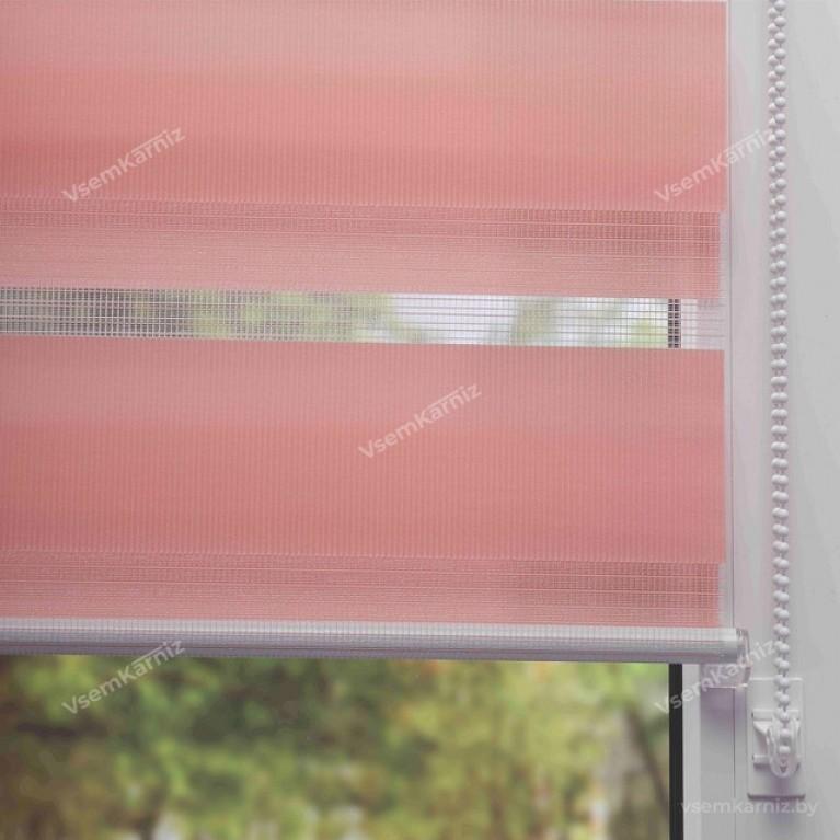 Рулонная штора LmDecor День-Ночь «Грация 05» Розовая с комплектом направляющих