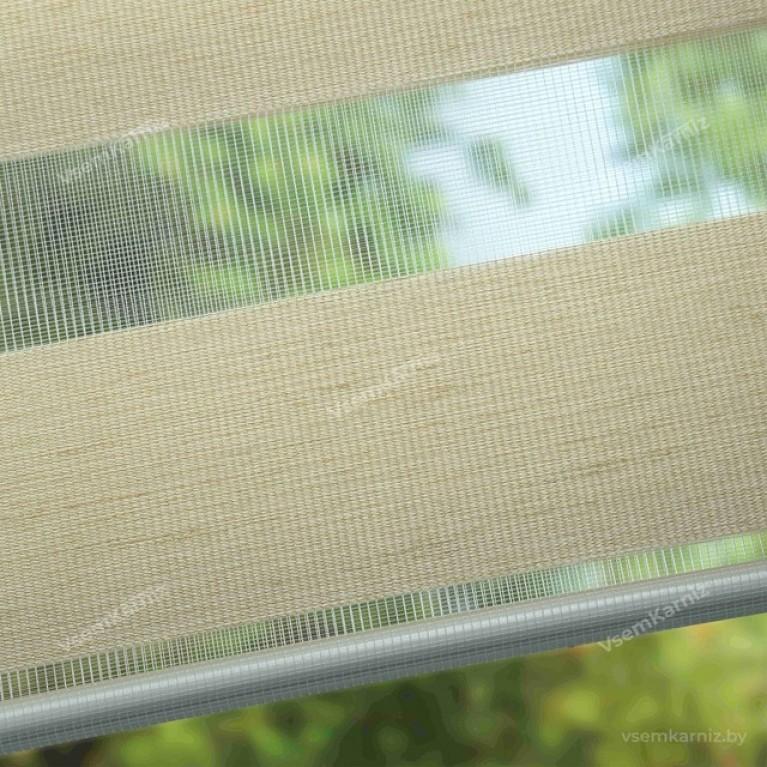Рулонная штора LmDecor День-Ночь «Фьюжн 01» светло-бежевая UNI 2 в алюминиевом коробе с направляющими