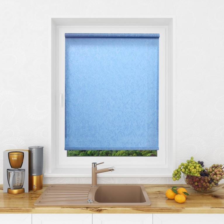 Рулонная штора LmDecor «Жаккард 06» Голубая