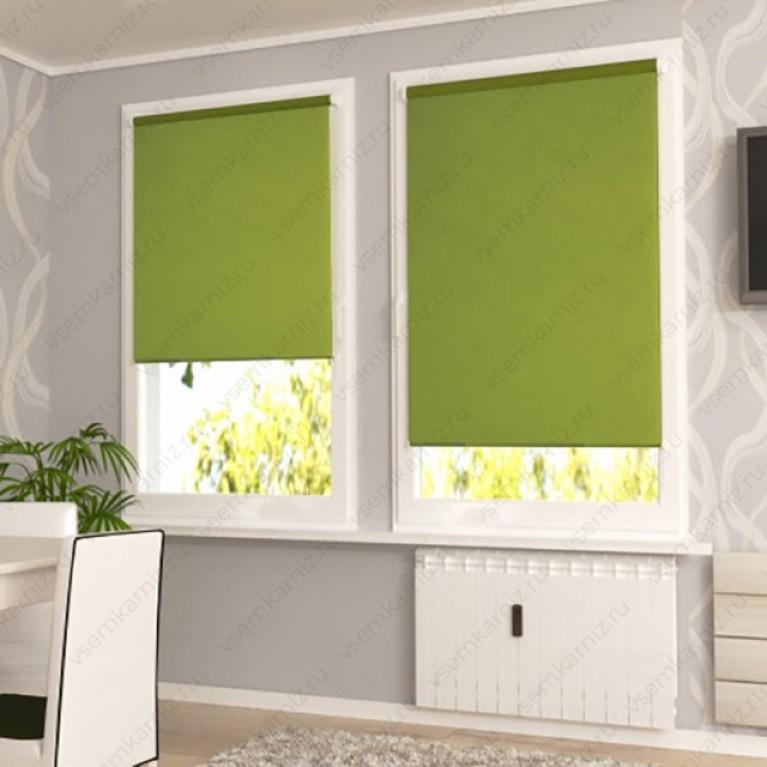 Рулонная штора «Лайт 04» Зеленая  с комплектом направляющих