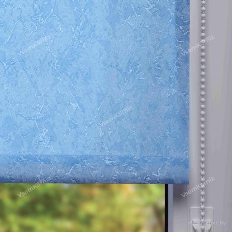 Рулонная штора «Жаккард 06» Голубая