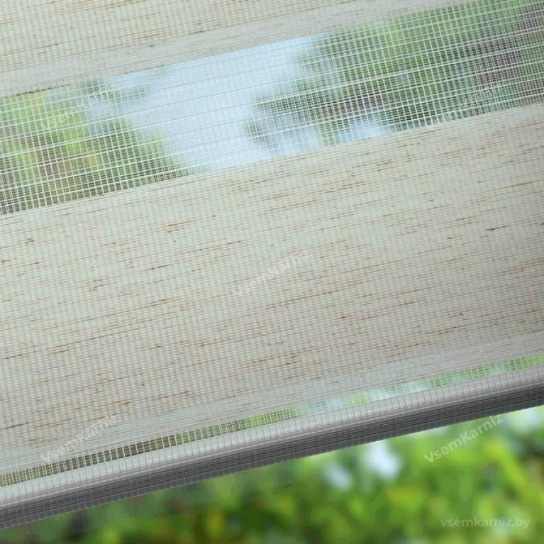 Рулонная штора LmDecor День-Ночь «Грация 08» оливковая UNI 2 в алюминиевом коробе с направляющими