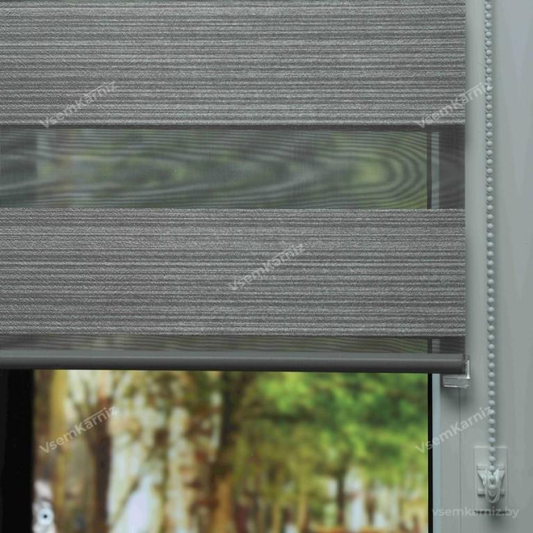 Рулонная штора LmDecor День-Ночь  «Марсель 05» графитовый серый