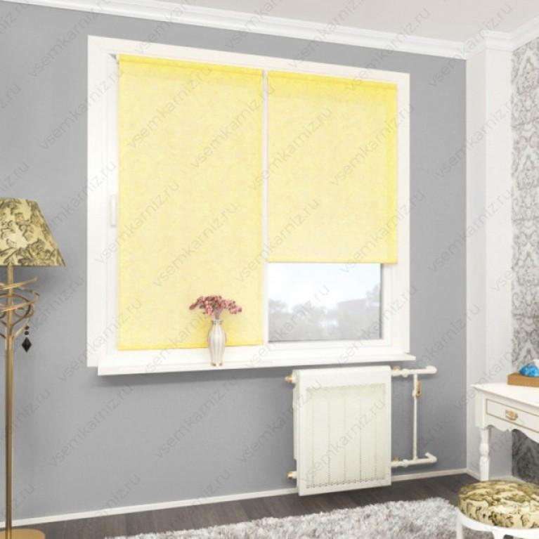 Рулонная штора «Жаккард 03» Желтая в коробе с направляющими