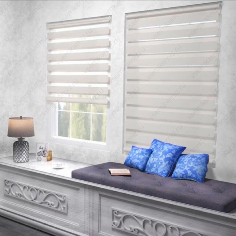 Рулонная штора День-Ночь  «Грация 01»  Белая  с комплектом алюминиевых направляющих