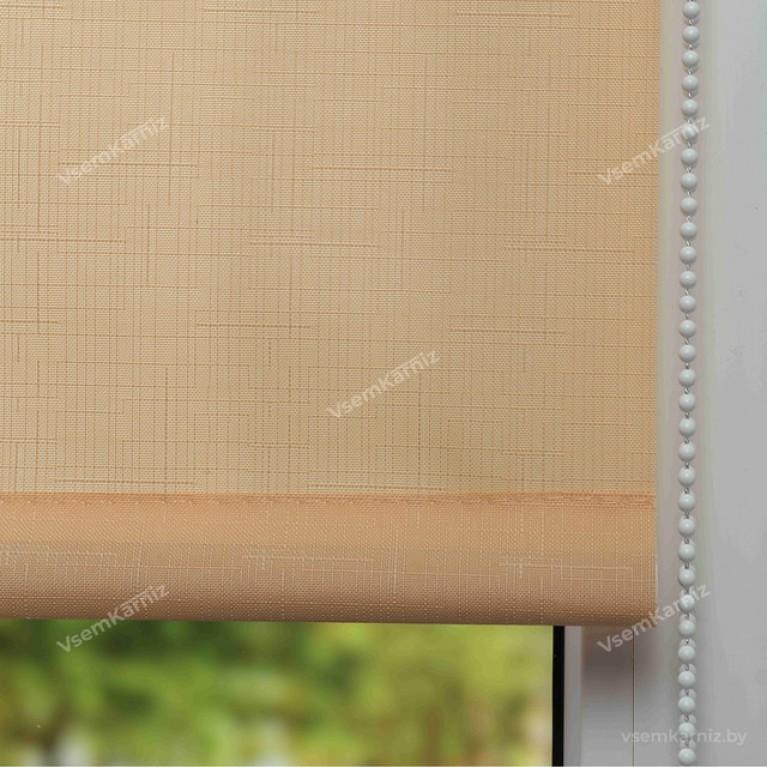 Рулонная штора LmDecor «Лайт 10» персиковая с комплектом алюминиевых направляющих