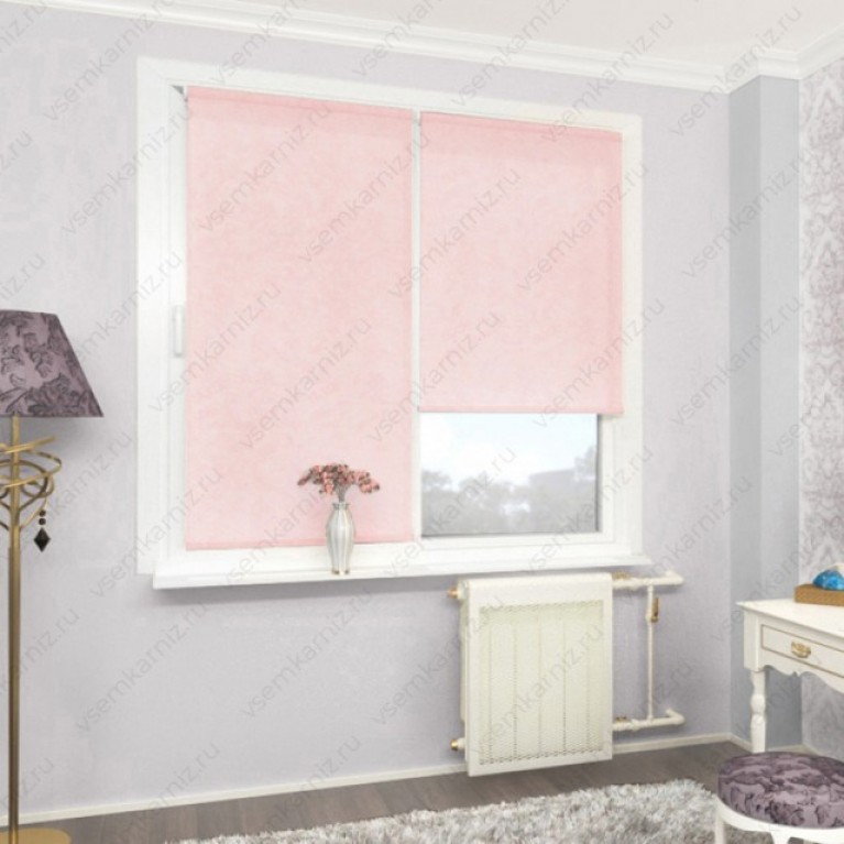 Рулонная штора «Жаккард 08» Розовая в коробе с направляющими