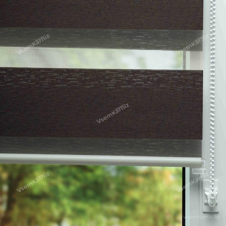 Рулонная штора LmDecor День-Ночь «Сити 05» темный шоколад с комплектом направляющих
