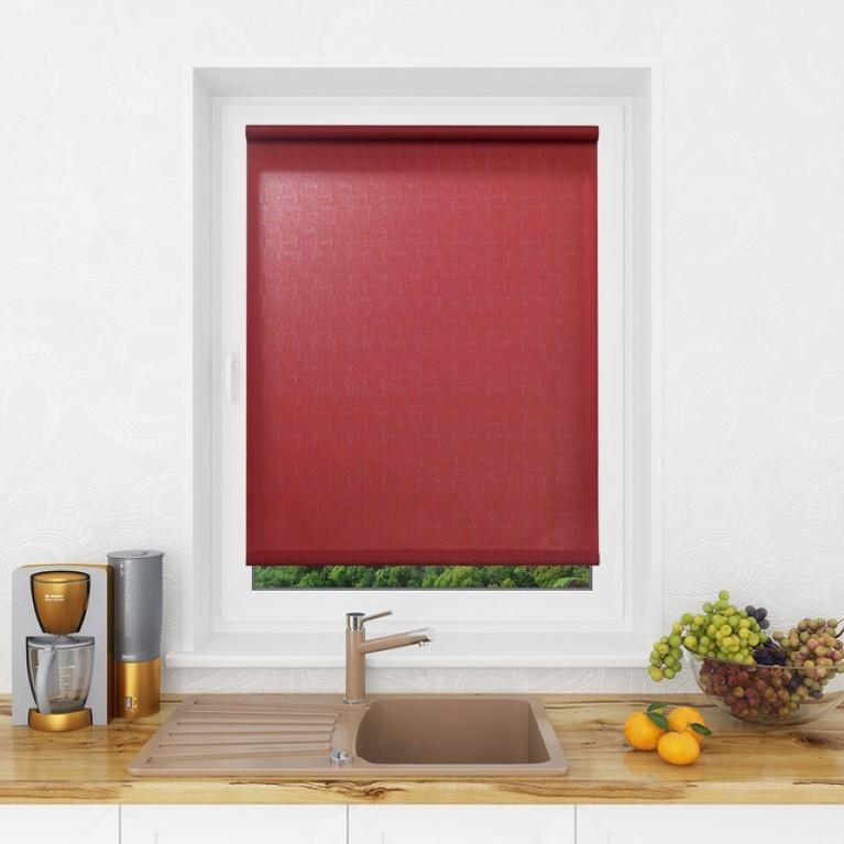 Рулонная штора LmDecor «Лайт 13» красно-бордовая с комплектом алюминиевых направляющих