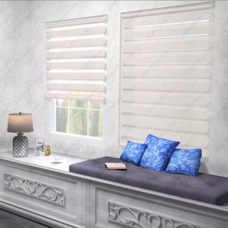 Рулонная штора День-Ночь  «Грация 14»  Персиковая с комплектом алюминиевых направляющих