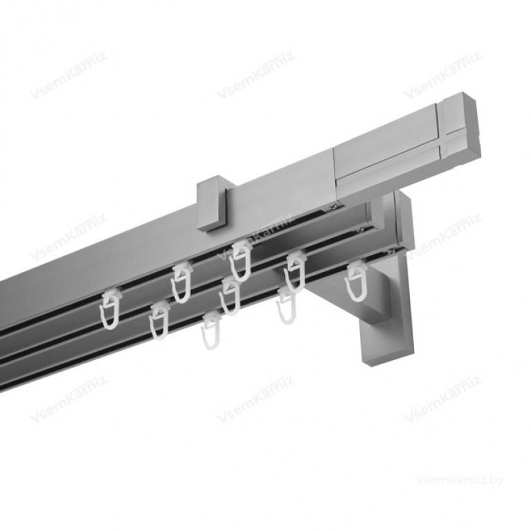 Карниз Флэт профиль «Лайн» Кросс 31*13мм сатин (трёхрядный)