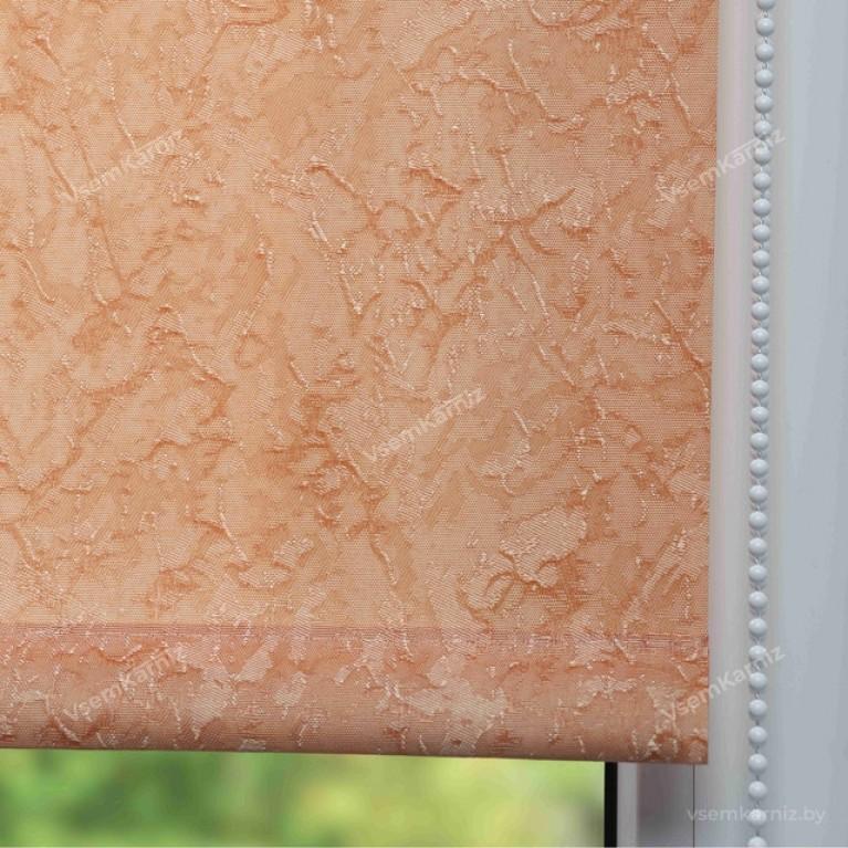 Рулонная штора LmDecor «Жаккард 07» Терракотовая в коробе с направляющими