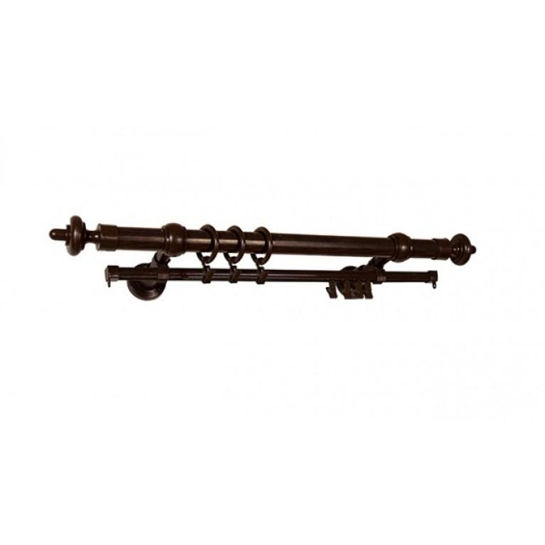 Круглый карниз на стальной трубе D=28mm Орех темный