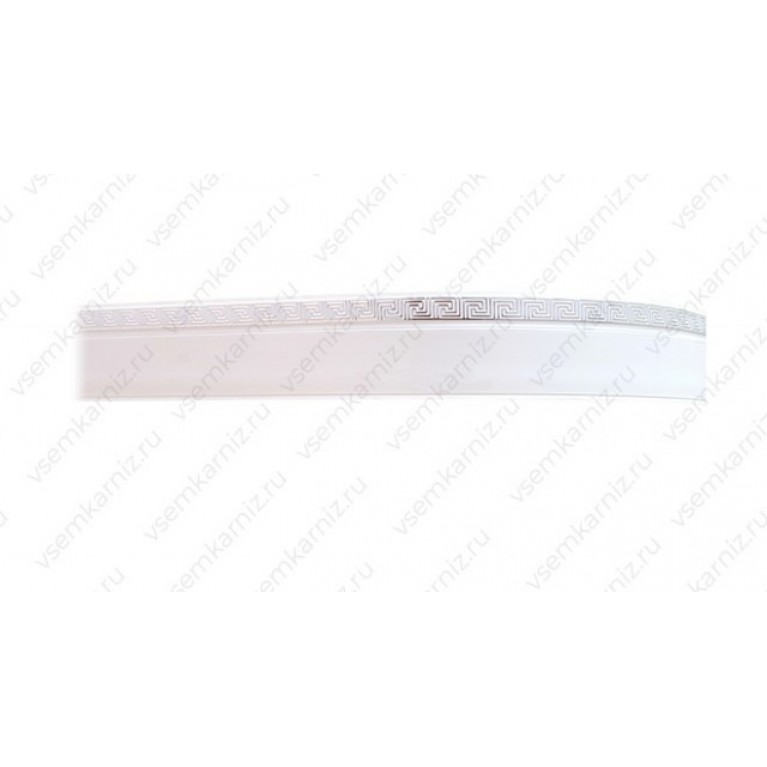 Карниз с багетом «Меандр» Белое серебро 5см