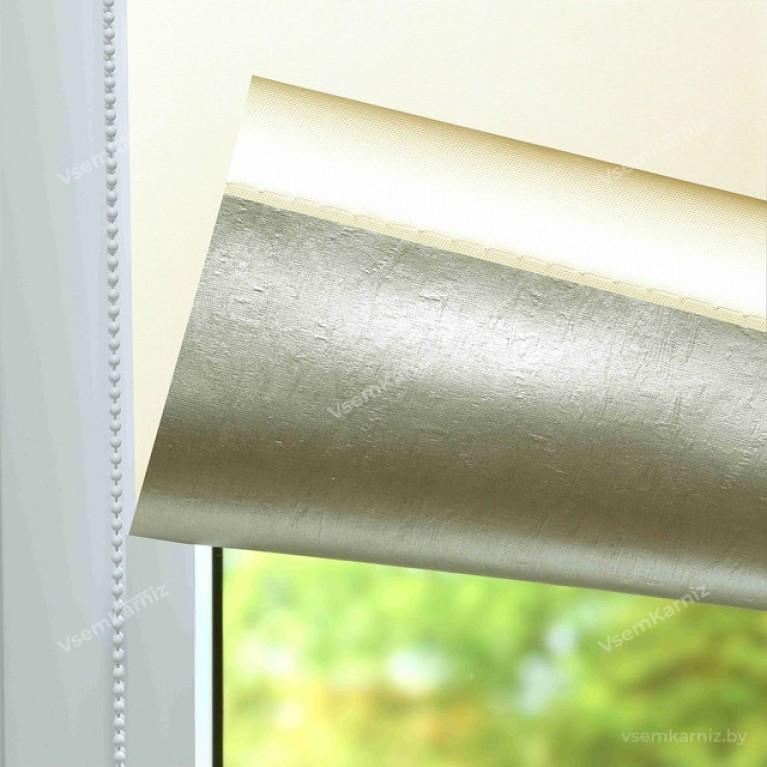 Рулонная штора LmDecor БЛЭКАУТ «Симпл 03» Кремовая UNI 2 в алюминиевом коробе с направляющими