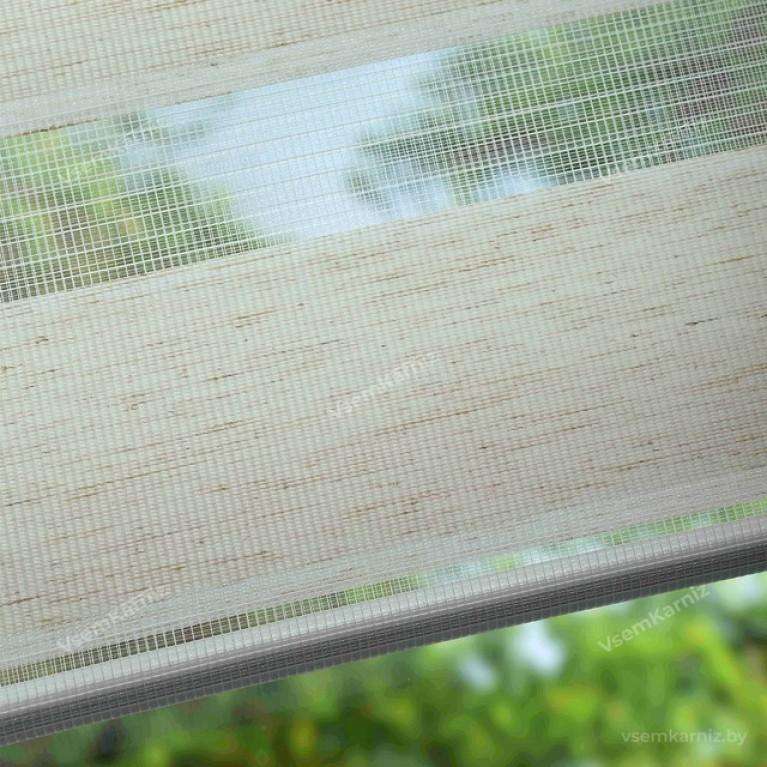 Рулонная штора LmDecor День-Ночь «Грация 09» Белый лён с комплектом алюминиевых направляющих