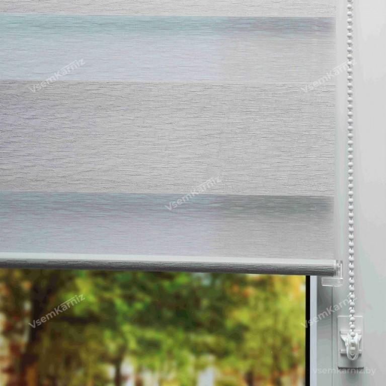 Рулонная штора LmDecor День-Ночь «Сити 02» светло-серая с комплектом алюминиевых направляющих