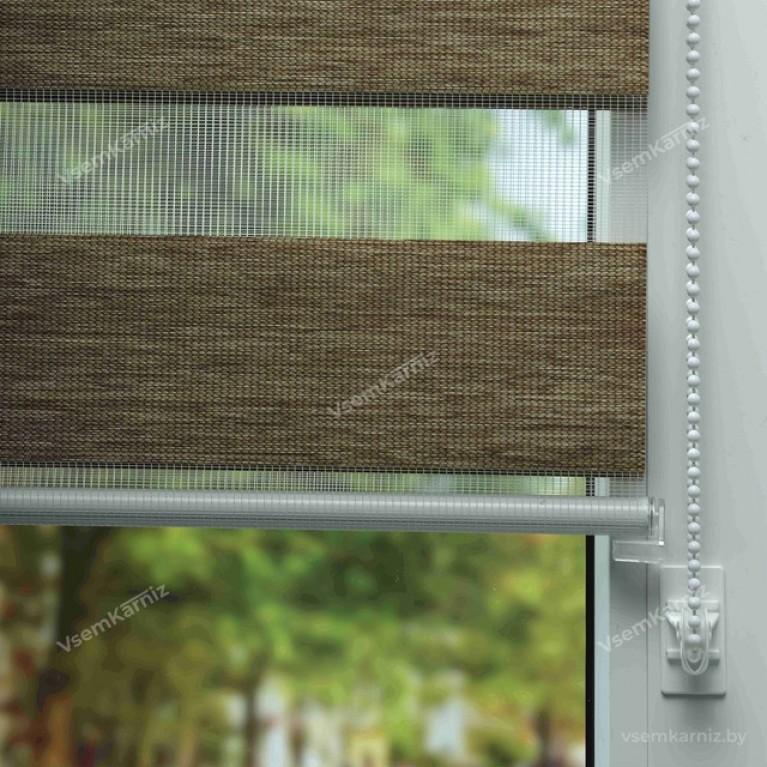 Рулонная штора LmDecor День-Ночь «Винтаж 04» Янтарная с комплектом алюминиевых направляющих