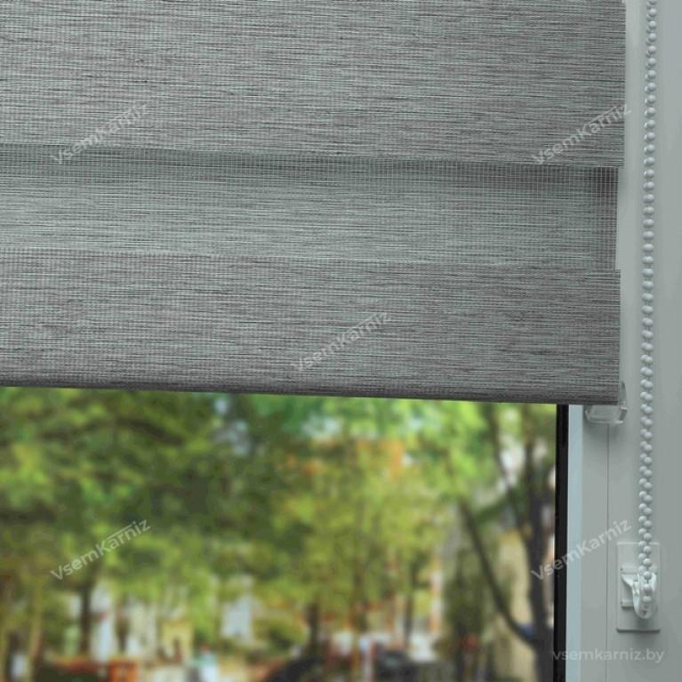 Рулонная штора LmDecor День-Ночь «Фьюжн 06» Серая UNI 2 в алюминиевом коробе с направляющими