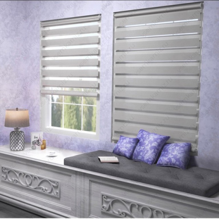 Рулонная штора День-Ночь  «Грация 07»  Серая с комплектом алюминиевых направляющих