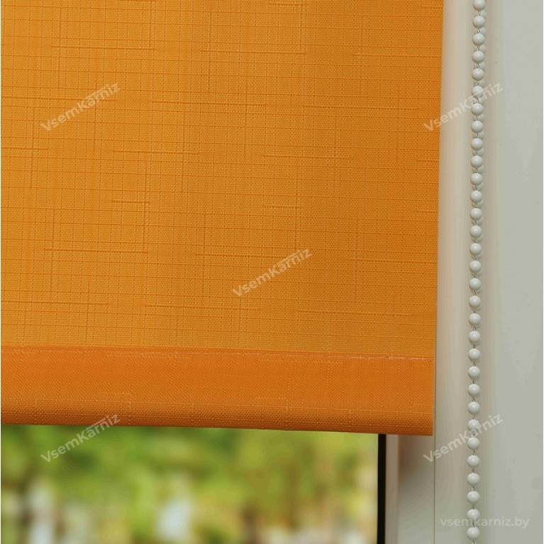 Рулонная штора LmDecor «Лайт 03» Оранжевая в коробе с направляющими