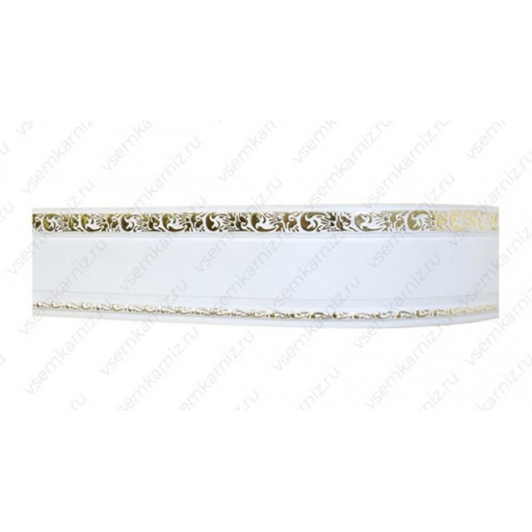 Карниз с багетом «Ажур А3» Белое золото 7см двухрядный