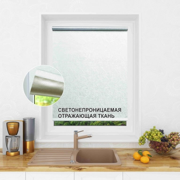 Рулонная штора LmDecor БЛЭКАУТ «Саванна 02» белая в коробе с направляющими